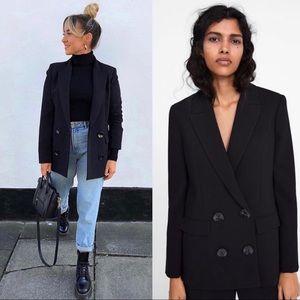 Zara Black Double-Breasted Blazer